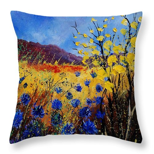 Poppies Flowers Floral Throw Pillow featuring the painting Blue Cornflowers by Pol Ledent