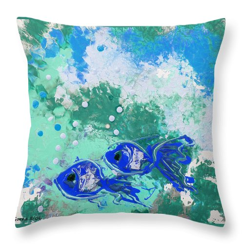 Fish Throw Pillow featuring the painting 2 Blue Fish by Gina De Gorna