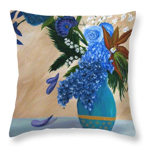 Flowers Throw Pillow featuring the painting Blue Passion by Debbie Levene
