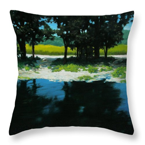 Landscape Throw Pillow featuring the painting Boat Launch by Kevin Lawrence Leveque