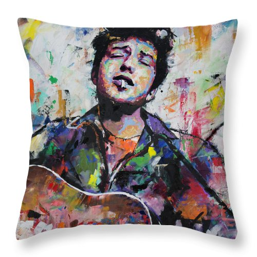 Bob Dylan Throw Pillow featuring the painting Bob Dylan II by Richard Day