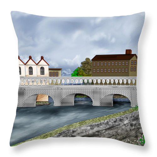 Galway Ireland Bridge Throw Pillow featuring the painting Bridge In Old Galway Ireland by Anne Norskog