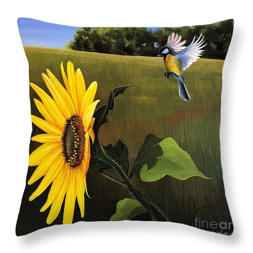 Sunflower Throw Pillow featuring the painting Bright As Yellow by Hunter Jay