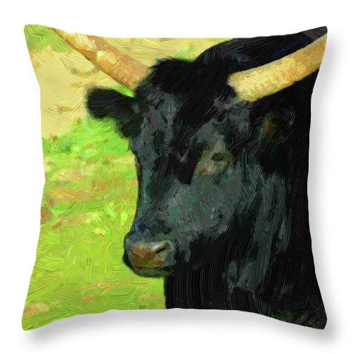 Beast Throw Pillow featuring the digital art Buffalo by Anna J Davis