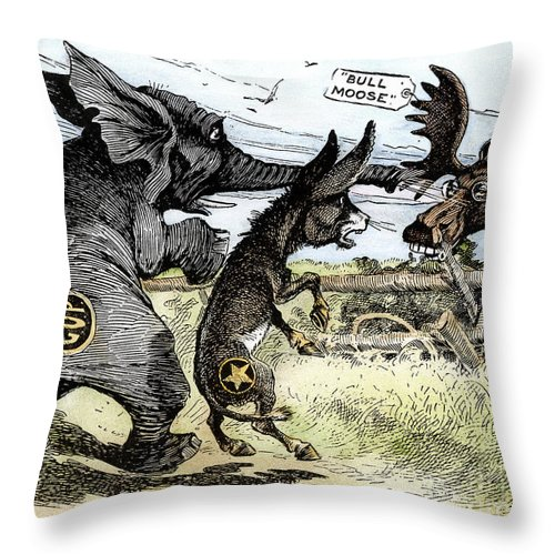 1912 Throw Pillow featuring the photograph Bull Moose Campaign, 1912 by Granger