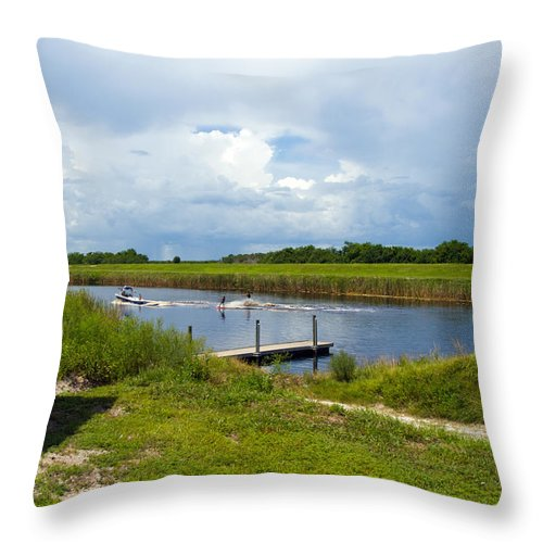 Florida; C54; Canal; Fellsmere; Sebastian; Grade; Drain; Draining; Water; Flow; Flowing; Indian; Riv Throw Pillow featuring the photograph C54 Canal In Florida by Allan Hughes