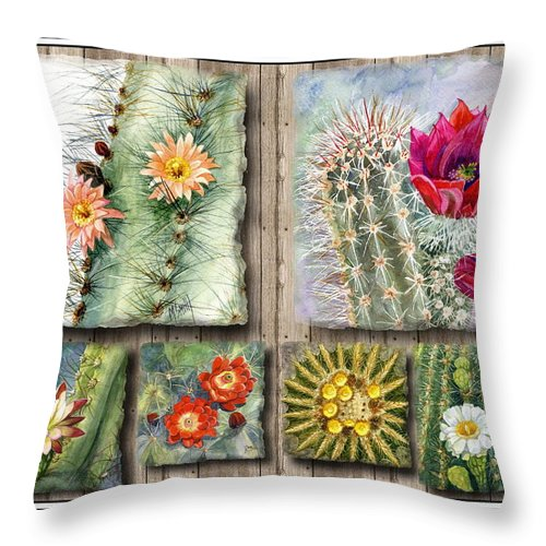 Cactus Throw Pillow featuring the painting Cactus Collage by Marilyn Smith