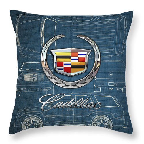 'wheels Of Fortune' By Serge Averbukh Throw Pillow featuring the photograph Cadillac 3 D Badge over Cadillac Escalade Blueprint by Serge Averbukh