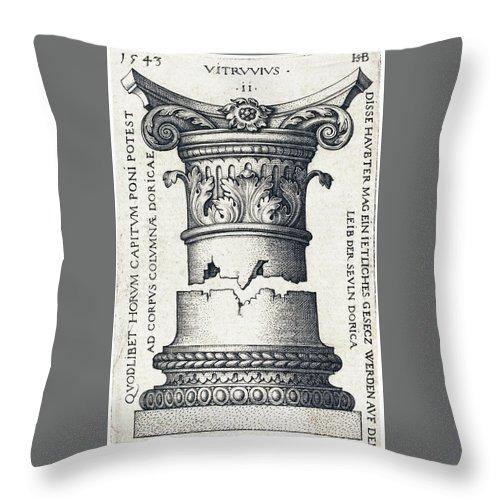 Sebald Beham Throw Pillow featuring the drawing Capital And Base Of A Column by Sebald Beham