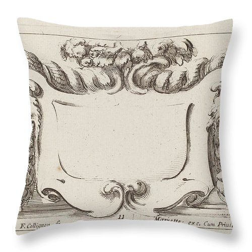 Throw Pillow featuring the drawing Cartouche by Fran?ois Collignon After Stefano Della Bella