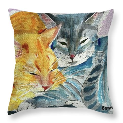 Cat Throw Pillow featuring the painting Kitty And Kat by Bonny Butler