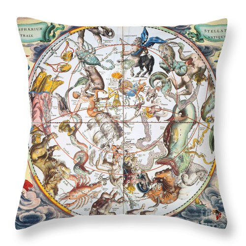 1660 Throw Pillow featuring the photograph Celestial Planisphere, 1660 by Granger