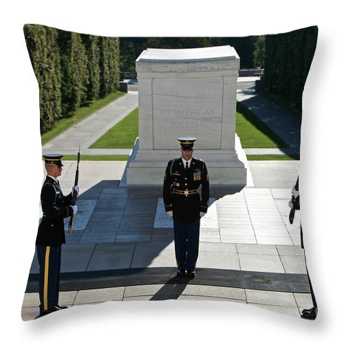 Horizontal Throw Pillow featuring the photograph Changing Of Guard At Arlington National by Terry Moore