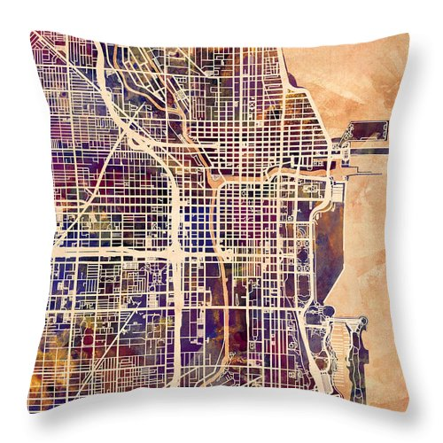Chicago Throw Pillow featuring the digital art Chicago City Street Map by Michael Tompsett