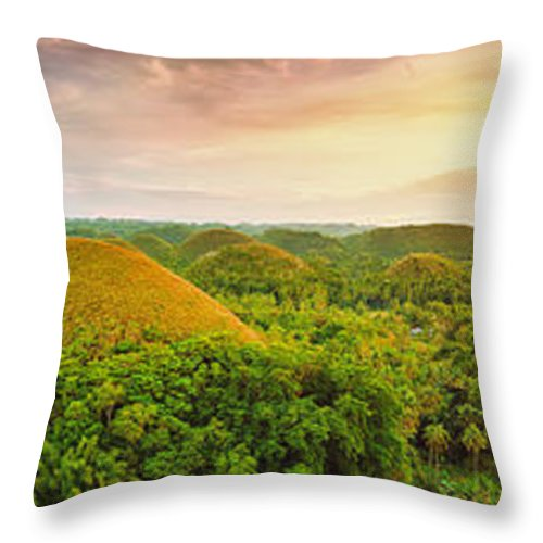 Panorama Throw Pillow featuring the photograph Chocolate Hills by MotHaiBaPhoto Prints