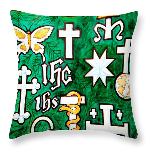 Chrismons Throw Pillow featuring the painting Chrismons by Kevin Middleton