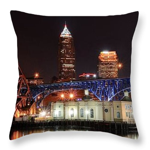 Cleveland Throw Pillow featuring the photograph Cleveland Panorama by Frozen in Time Fine Art Photography
