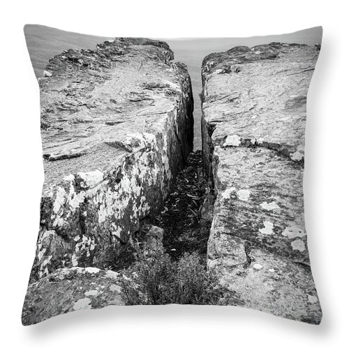 Landscape Throw Pillow featuring the photograph Cliff Top Black And White by Tim Hester