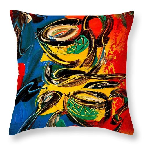 New York Throw Pillow featuring the painting Coffee by Mark Kazav