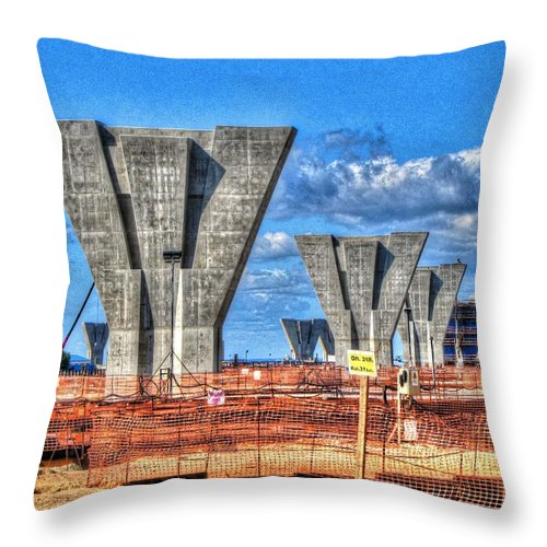 Construction Throw Pillow featuring the pyrography construction WHSD by Yury Bashkin