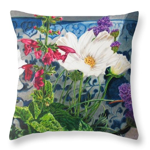 Flowers Throw Pillow featuring the painting Cosmos by Karen Ilari