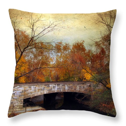 Autumn Throw Pillow featuring the photograph Country Bridge by Jessica Jenney