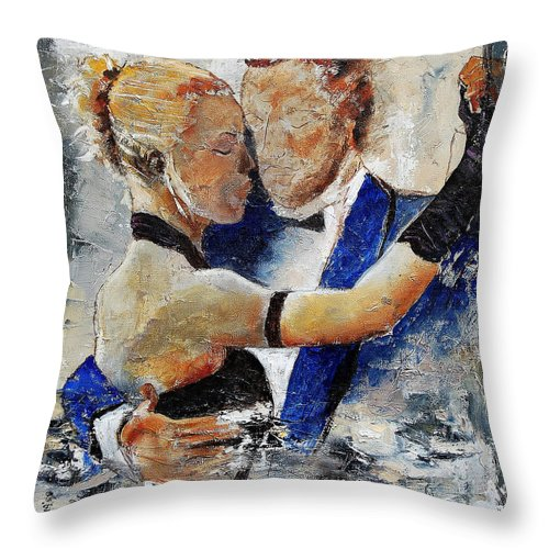 Dance Throw Pillow featuring the painting Dancing Tango by Pol Ledent