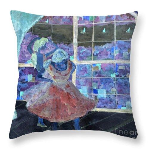 Ballet Dancers Throw Pillow featuring the digital art Dansarinas by Reina Resto