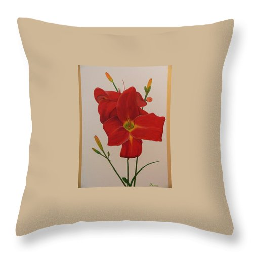 Daylilly Throw Pillow featuring the painting 2 Daylillies In Red by Serina Wells