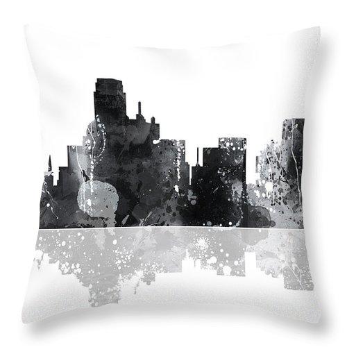 Denver Colorado Skyline Throw Pillow featuring the digital art Denver Colorado Skyline by Marlene Watson