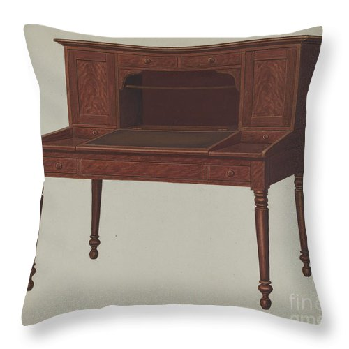 Throw Pillow featuring the drawing Desk by Frank Wenger