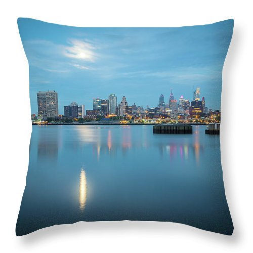 City Throw Pillow featuring the photograph early morning sunrise over city of philadelphia PA by Alex Grichenko