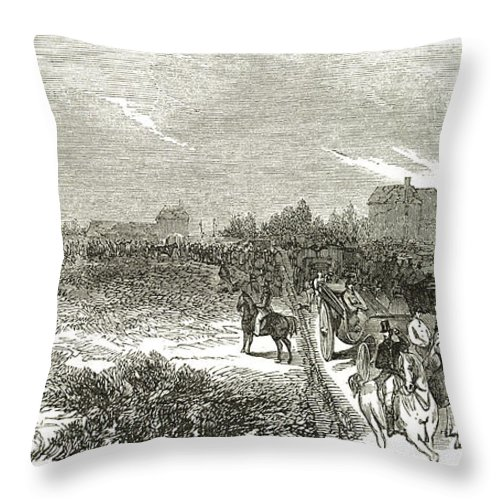 Easter Hunt Throw Pillow featuring the drawing Easter Hunt With The Royal Stag Hounds The Meet At Stoke Common by English School