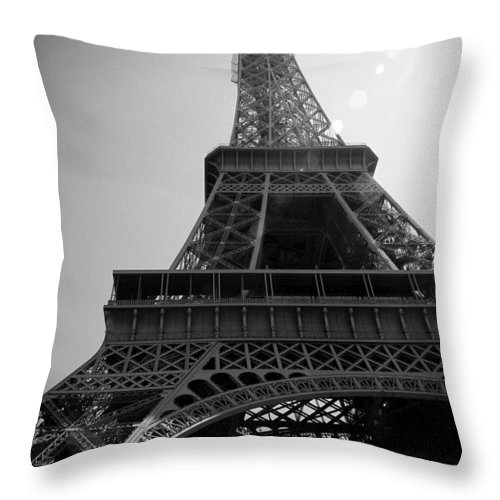 Paris Throw Pillow featuring the photograph Eiffel Tower Under The Spotlight by Kamil Swiatek