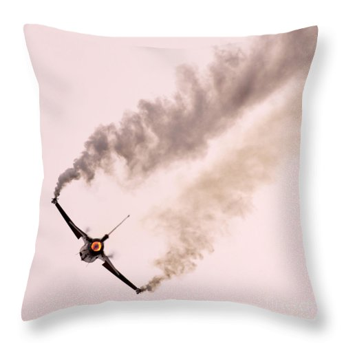 Aircraft Throw Pillow featuring the photograph f16 by Angel Ciesniarska