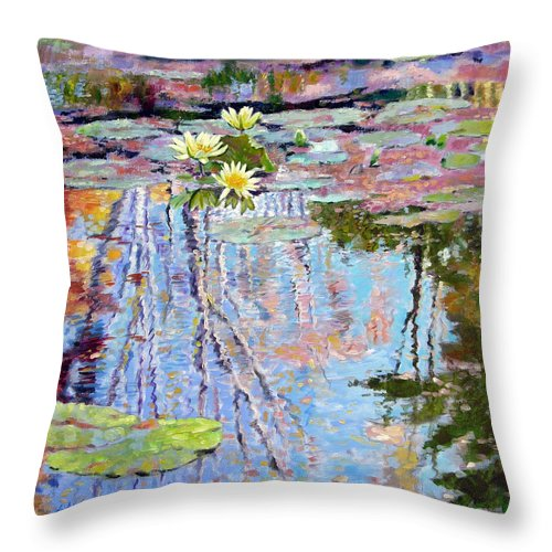Garden Pond Throw Pillow featuring the painting Fall Reflections by John Lautermilch
