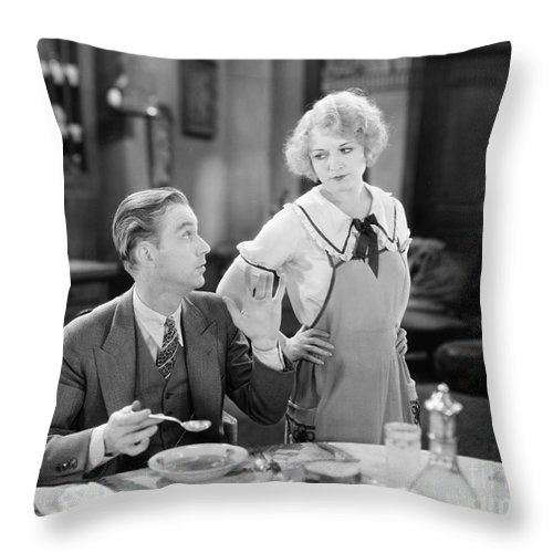 -eating & Drinking- Throw Pillow featuring the photograph Film Still: Eating & Drinking by Granger