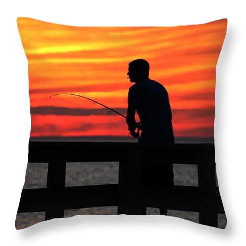 Fisherman Throw Pillow featuring the photograph Fishing Pier Mount Sinai New York by Bob Savage
