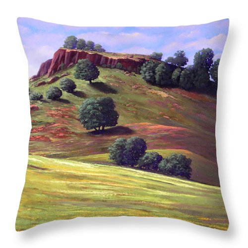Landscape Throw Pillow featuring the painting Flowering Meadow by Frank Wilson