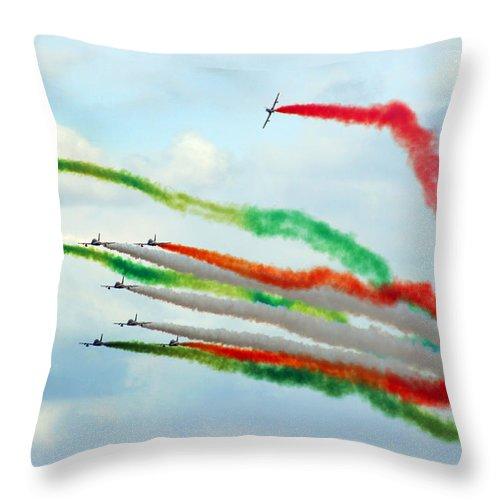 Frecce Tricolori Throw Pillow featuring the photograph Frecce Tricolori by Angel Ciesniarska