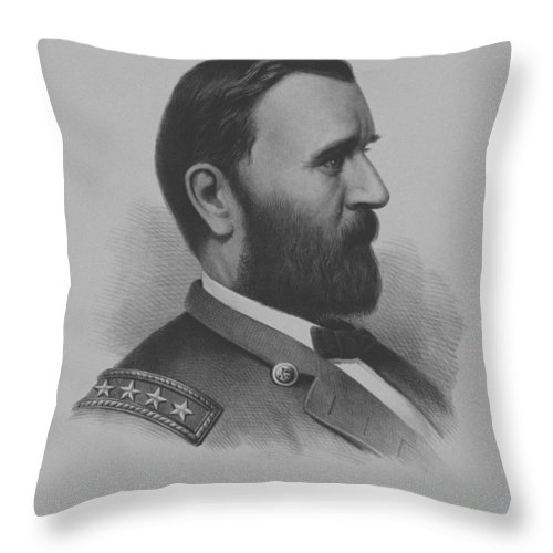 General Grant Throw Pillow featuring the mixed media General Grant by War Is Hell Store