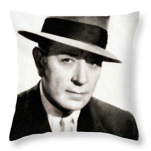 Hollywood Throw Pillow featuring the painting George Raft, Vintage Actor By Js by John Springfield