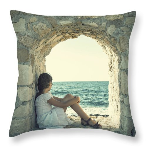 Female Throw Pillow featuring the photograph Girl At The Sea 2 by Joana Kruse