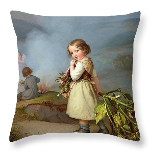 Embde Throw Pillow featuring the painting Girl On Her Way To Cooking Potatoes In The Fire by MotionAge Designs