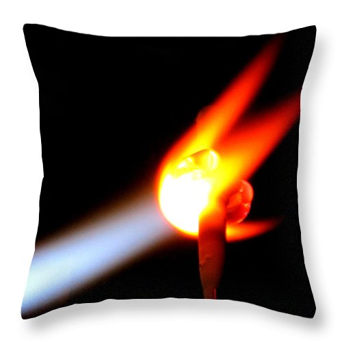 Fire Throw Pillow featuring the photograph Glass Bead Making by Sarah Houser