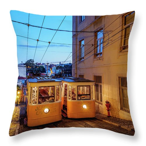 Gloria Throw Pillow featuring the photograph Gloria Funicular, Lisbon, Portugal by Karol Kozlowski