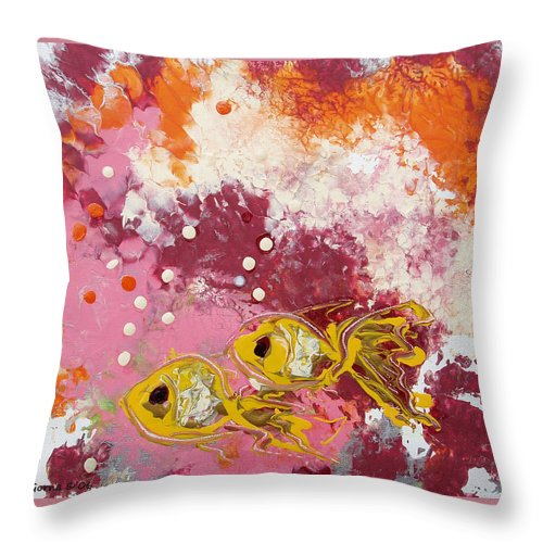 Fish Throw Pillow featuring the painting 2 Gold Fish by Gina De Gorna