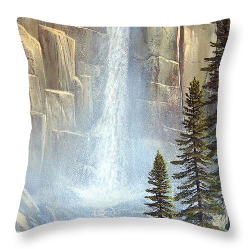 Great Falls Throw Pillow featuring the painting Great Falls by Frank Wilson