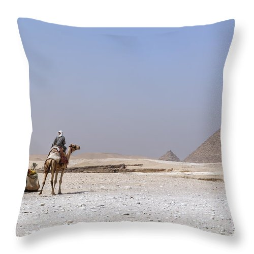 Great Pyramids Of Giza Throw Pillow featuring the photograph Great Pyramids Of Giza - Egypt by Joana Kruse