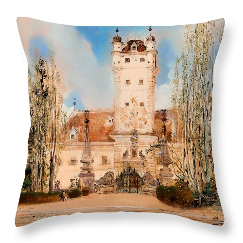 Painting Throw Pillow featuring the painting Greillenstein Castle by Mountain Dreams